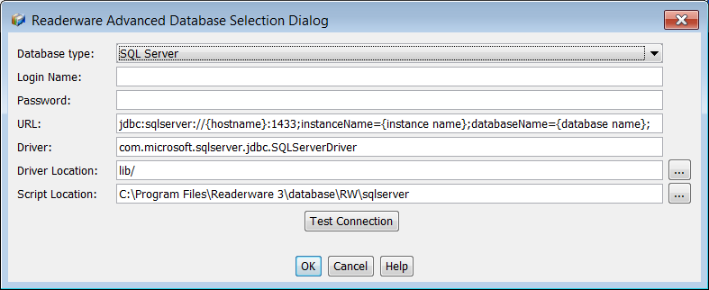 Readerware SQL Server Database Connection
