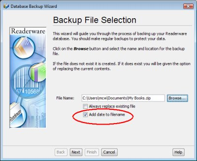 Readerware backup file selection screenshot (Windows)
