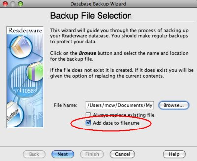 Readerware backup file selection screenshot (Mac)