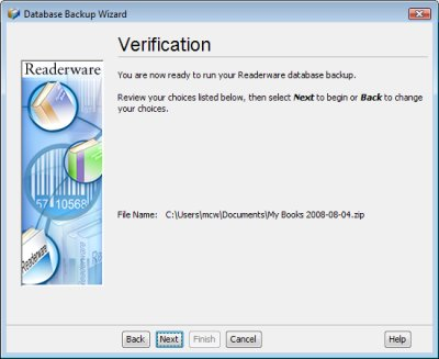 Readerware backup verification screenshot (Windows)
