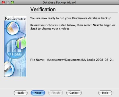 Readerware backup verification screenshot (Mac)