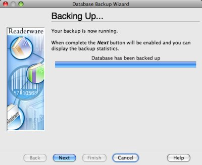 Readerware backing up screenshot (Mac)