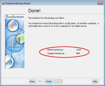 Readerware backup complete screenshot (Windows)