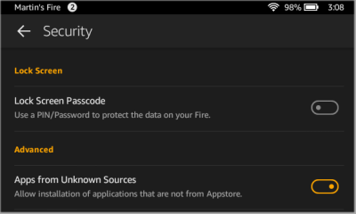 Amazon Fire Security Settings