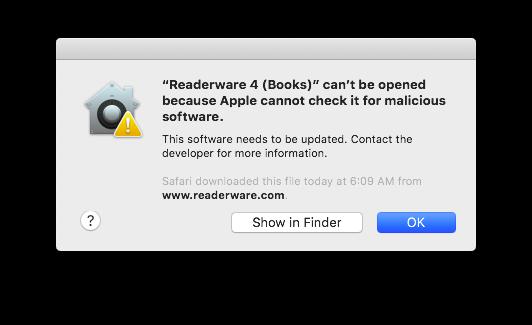 Installing Readerware on macOS Catalina
