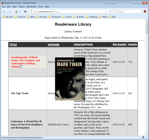 Readerware on the web