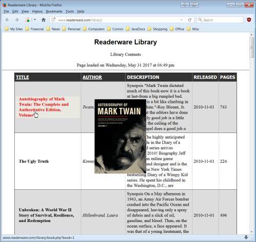 Readerware on the web