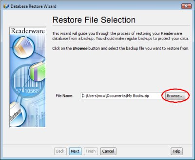 Readerware restore - backup file selection screenshot (Windows)