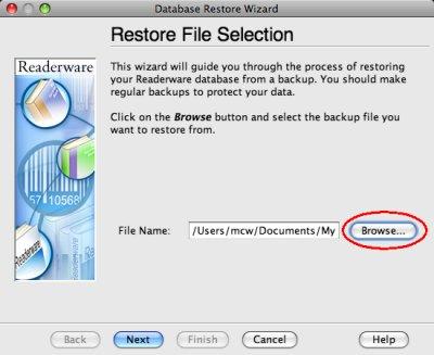 Readerware restore - backup file selection screenshot (Mac)