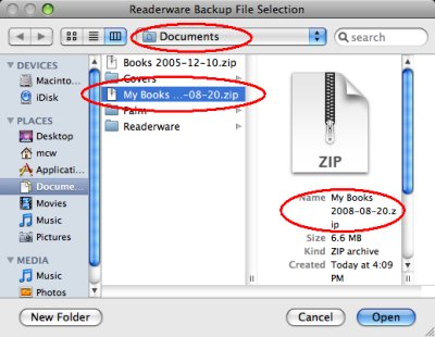 Mac OS X file selection dialog
