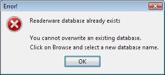 Readerware restore - database exists error screenshot (Windows)