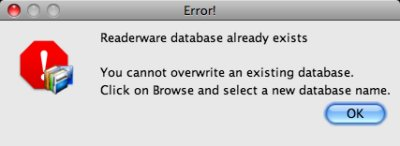 Readerware restore - database exists error screenshot (Mac)