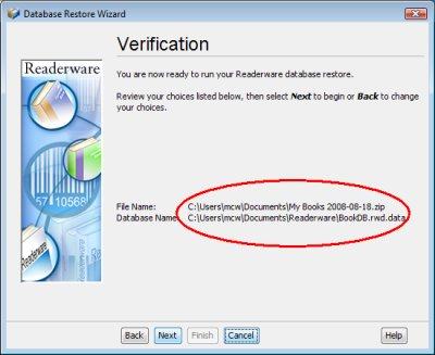 Readerware restore - verification screenshot (Windows)