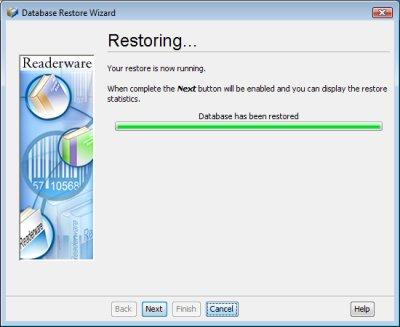 Readerware restore - restoring screenshot (Windows)