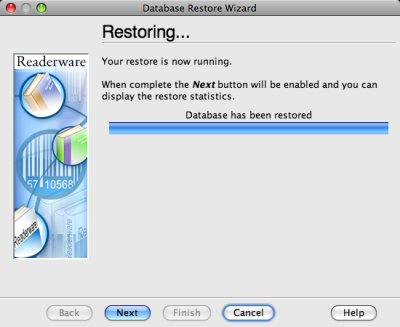 Readerware restore - restoring screenshot (Mac)