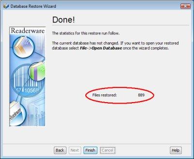 Readerware restore - complete screenshot (Windows)