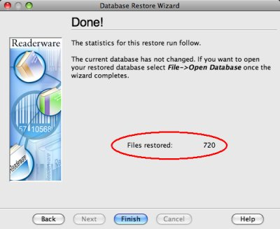 Readerware restore - complete screenshot (Mac)