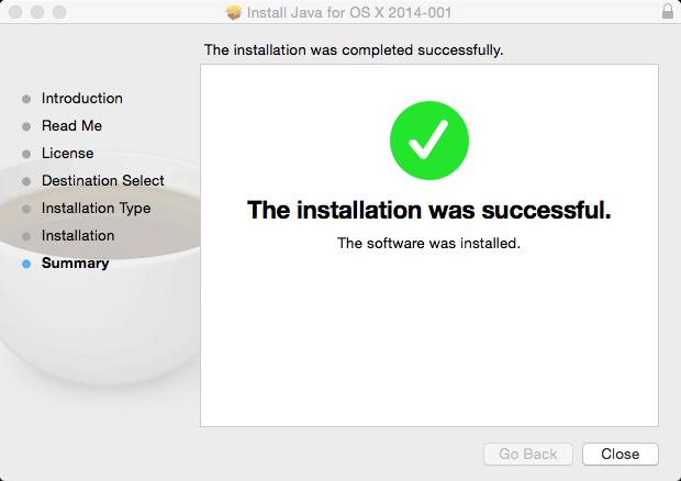 Apple Java Install Complete