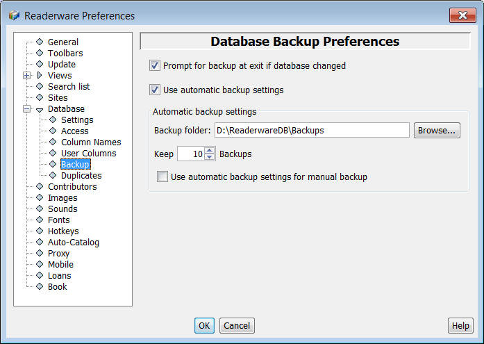Database backup preferences