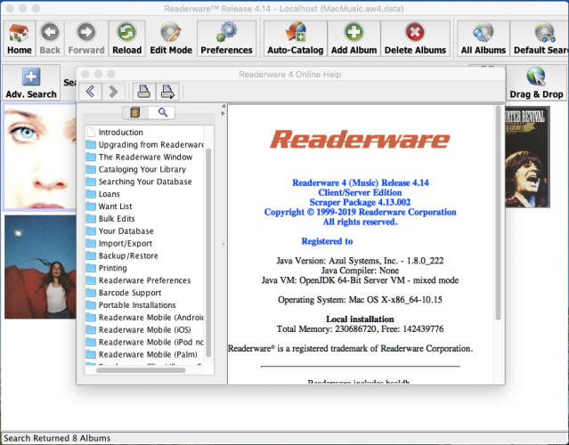 Readerware running on macOS Catalina