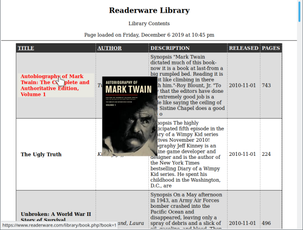 Readerware library on the web
