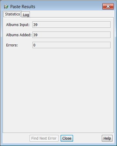 Paste results dialog